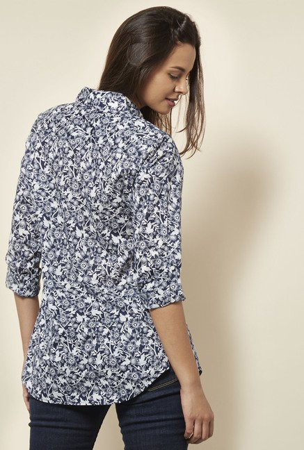 Cottonworld Floral Printed Navy Shirt
