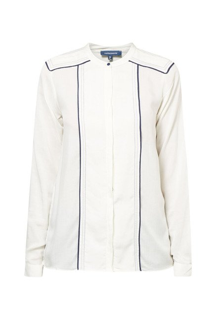 Cottonworld Solid Off White Shirt
