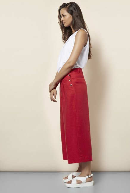 Cottonworld Solid Coral Culottes