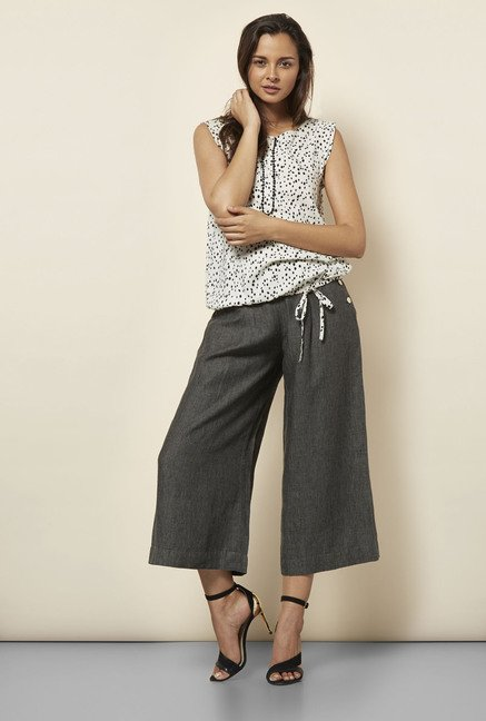 Cottonworld Solid Charcoal Culottes