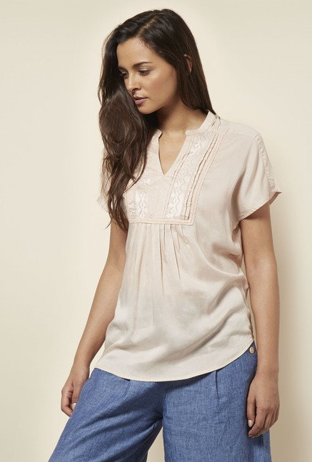 Cottonworld Solid Beige Blouse