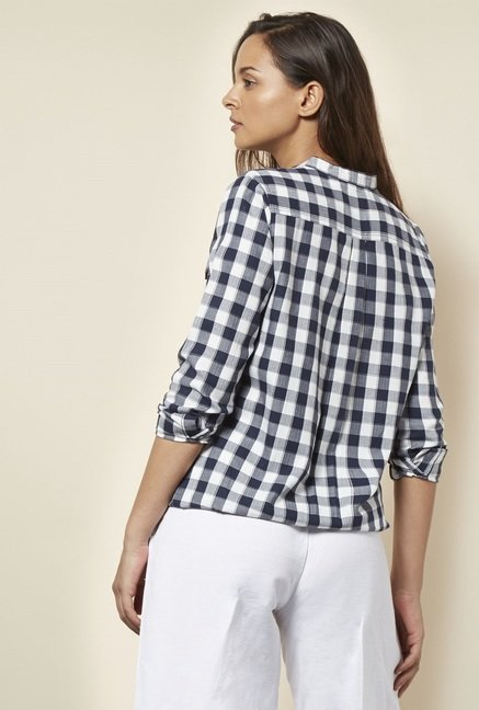 Cottonworld Checks Navy Blouse