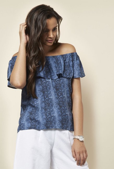 Cottonworld Printed Navy Blouse