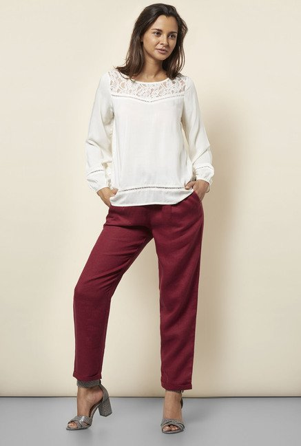 Cottonworld Maroon Linen Pants