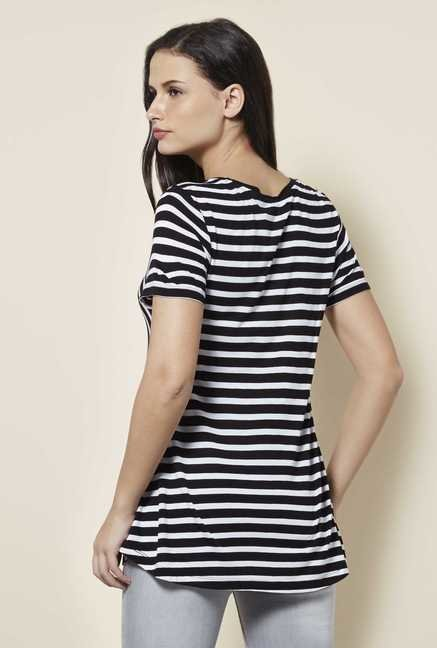 Cottonworld Stripe Black T Shirt