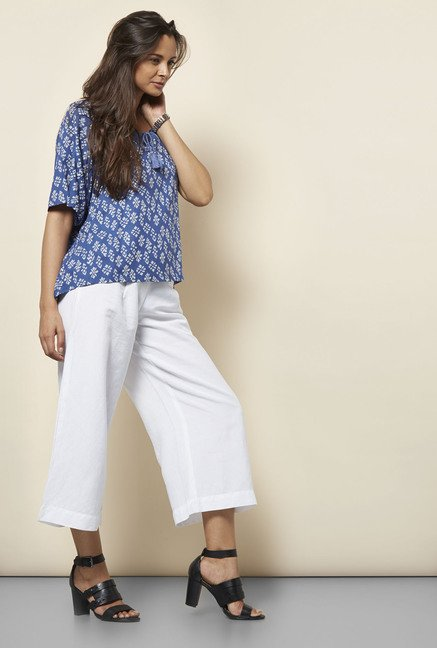 Cottonworld Printed Blue Blouse