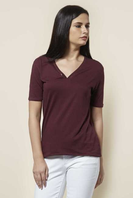 Cottonworld Solid Wine T Shirt