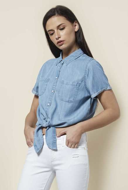 Cottonworld Solid Blue Blouse