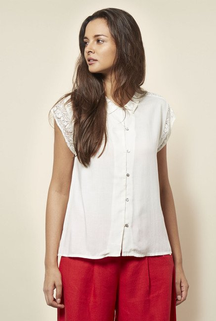 Cottonworld Solid White Blouse