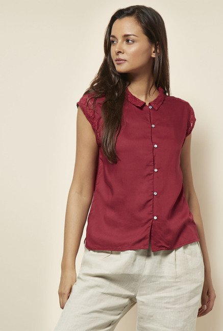Cottonworld Solid Maroon Blouse