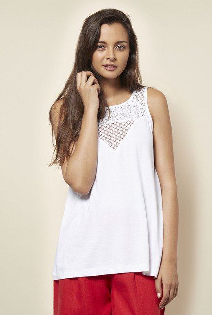 Cottonworld Solid White Crochet Blouse