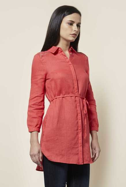 Cottonworld Solid Coral Tunic