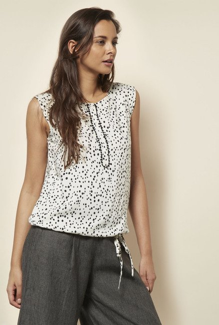 Cottonworld Printed Off White Blouse