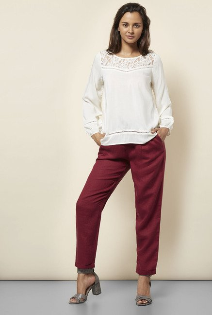 Cottonworld Floral Lace Off White Blouse