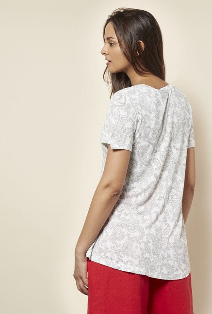 Cottonworld Paisley Printed Off White T Shirt