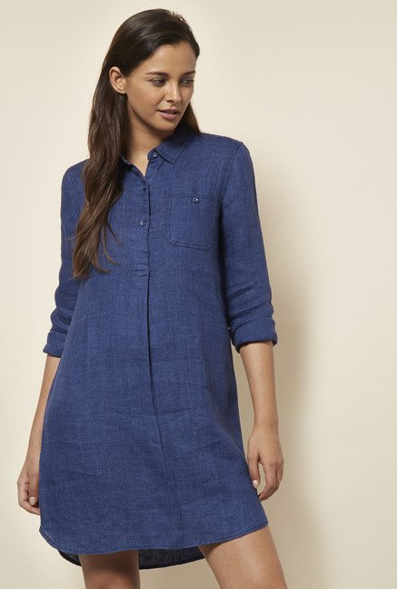Cottonworld Solid Indigo Dress