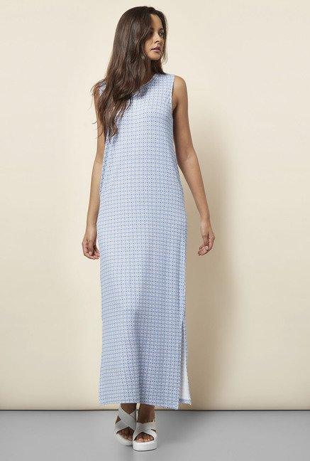 Cottonworld Printed Blue Dress
