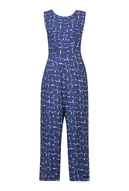 Cottonworld Printed Navy Jumpsuit