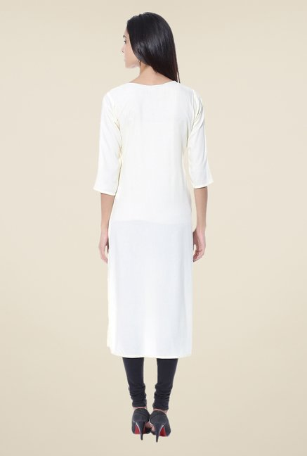 Shree White Solid Rayon Kurta