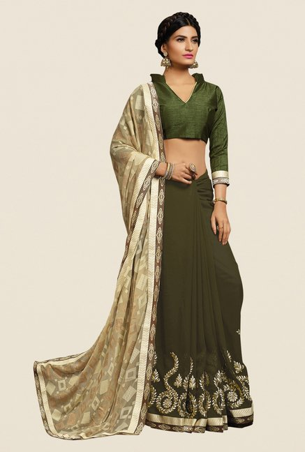 Shonaya Olive & Beige Georgette Embroidered Saree