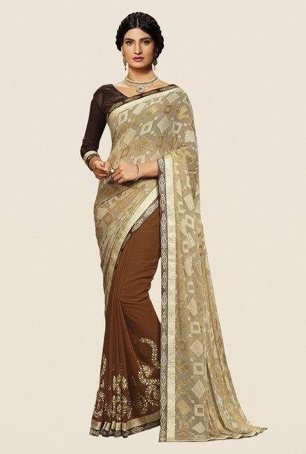 Shonaya Brown & Beige Georgette Embroidered Saree