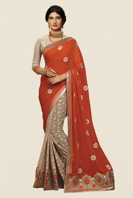 Shonaya Beige & Rust Georgette Embroidered Saree