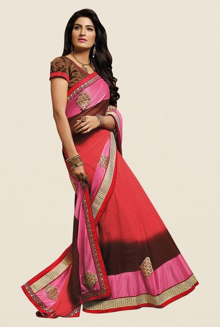 Shonaya Coral & Brown Georgette Embroidered Saree