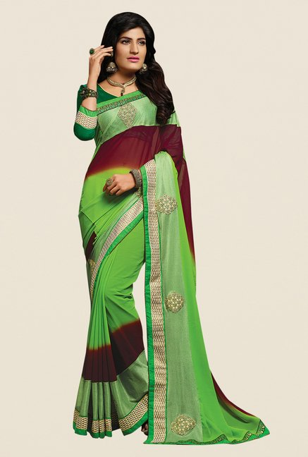 Shonaya Lime & Maroon Georgette Embroidered Saree