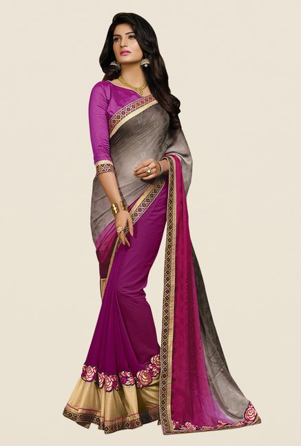 Shonaya Purple & Grey Georgette Embroidered Saree