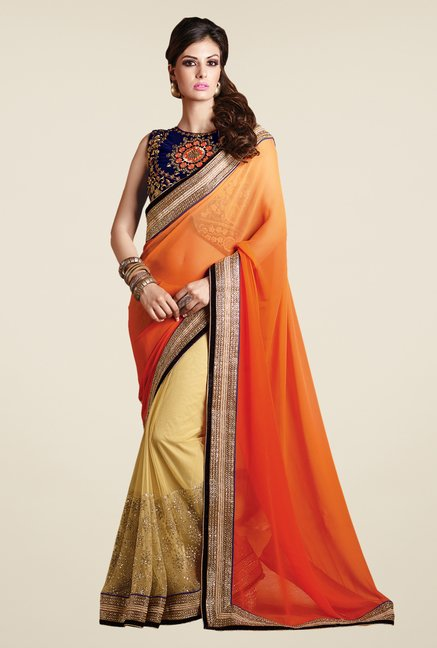 Shonaya Beige & Orange Net & Georgette Solid Saree