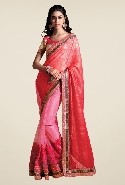 Shonaya Pink & Peach Net & Georgette Embroidered Saree