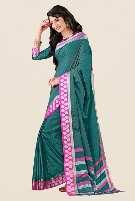 Shonaya Teal Cotton Silk Printed Saree