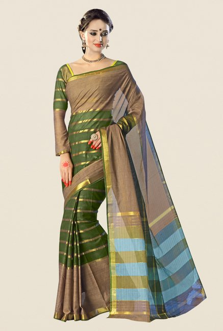 Shonaya Green & Khaki Cotton Silk Striped Saree