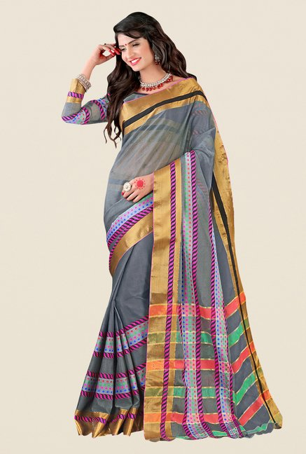 Shonaya Grey & Golden Cotton Silk Printed Saree