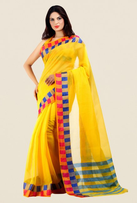 Shonaya Yellow Cotton Silk Printed Saree