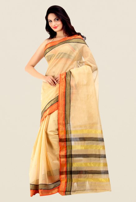 Shonaya Beige Cotton Silk Printed Saree