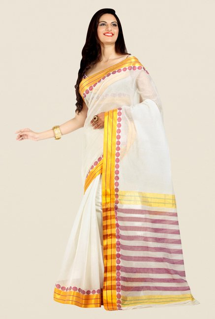 Shonaya White Cotton Silk Printed Saree