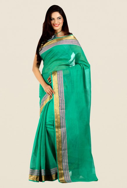 Shonaya Green Cotton Silk Printed Saree