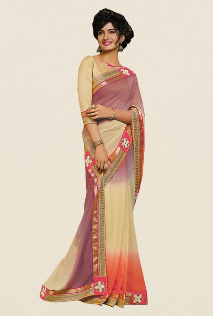 Shonaya Beige & Purple Georgette Embroidered Saree