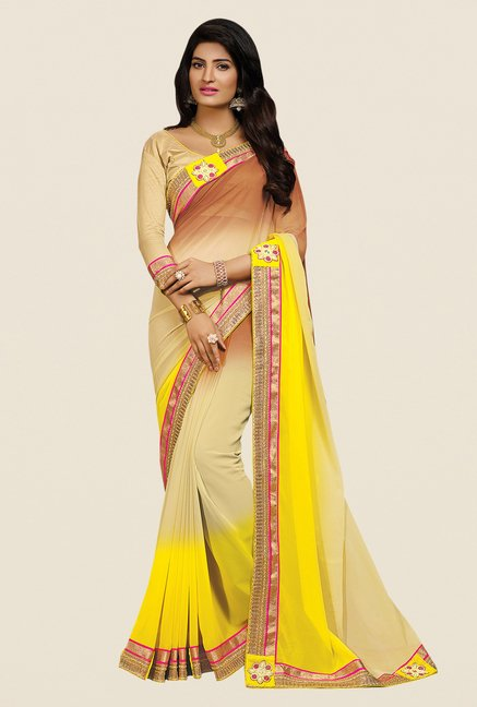 Shonaya Beige & Yellow Georgette Embroidered Saree