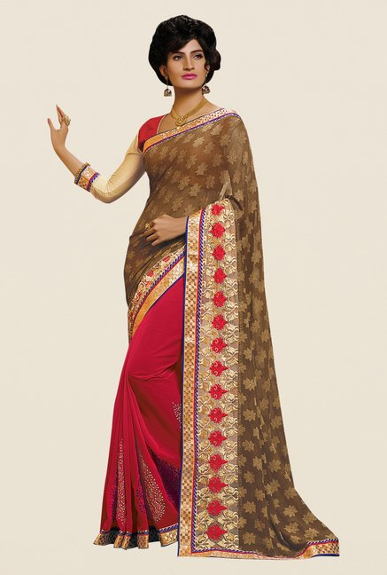 Shonaya Pink & Tan Georgette Embroidered Saree