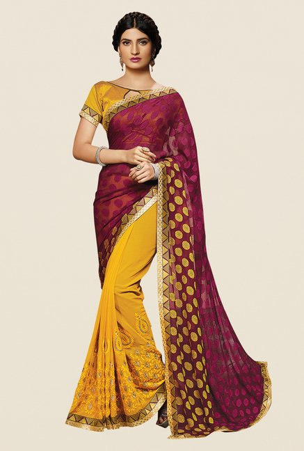 Shonaya Yellow & Wine Georgette Embroidered Saree