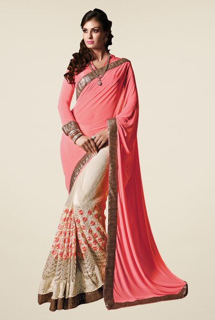 Shonaya Cream & Peach Net & Georgette Embroidered Saree