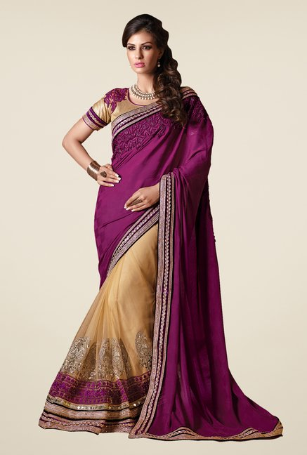 Shonaya Beige & Purple Net & Georgette Embroidered Saree