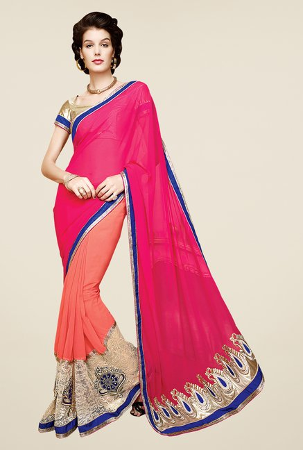 Shonaya Peach & Pink Faux Georgette Embroidered Saree