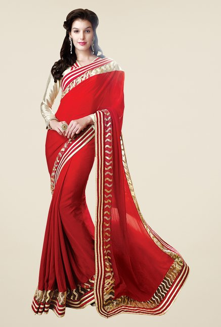 Shonaya Red Chiffon Solid Saree