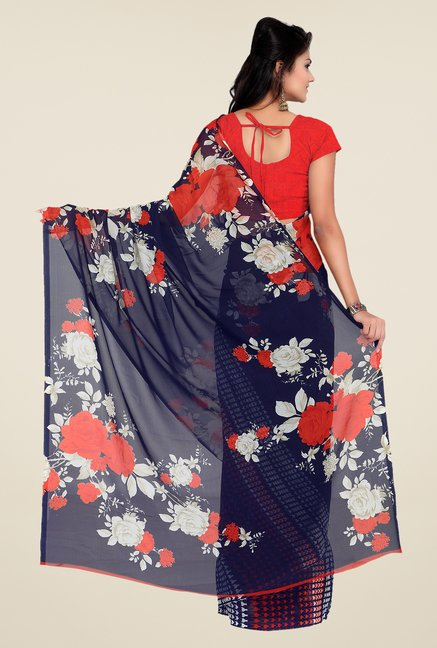 Shonaya Navy & Red Georgette Floral Print Saree