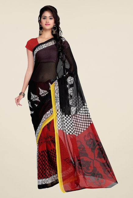 Shonaya Red & Black Georgette Printed Saree