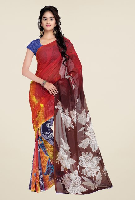 Shonaya Red & Brown Georgette Printed Saree
