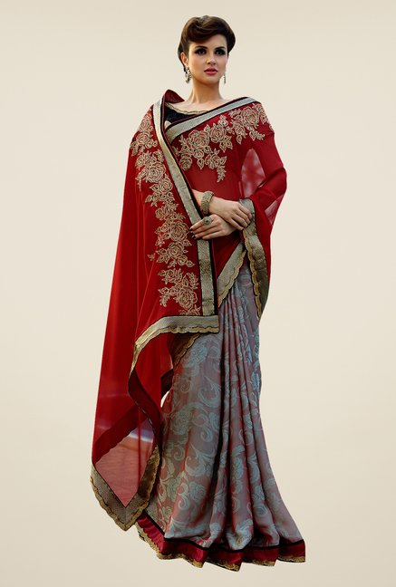 Shonaya Red & Grey Georgette Embroidered Saree